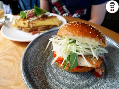 Barramundi burger, chilli jam, papaya and herb salad, finger lime