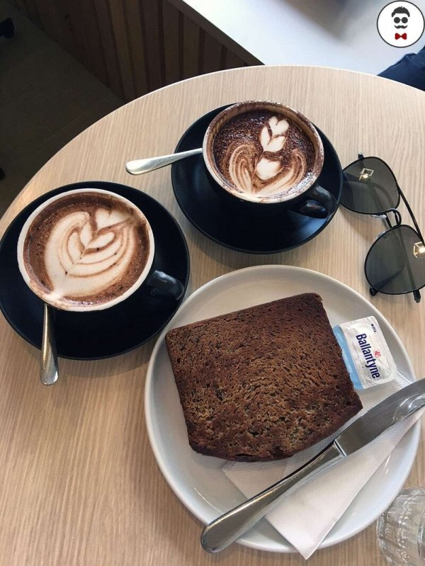 Toasted Bread, Cappuccino and Mocha