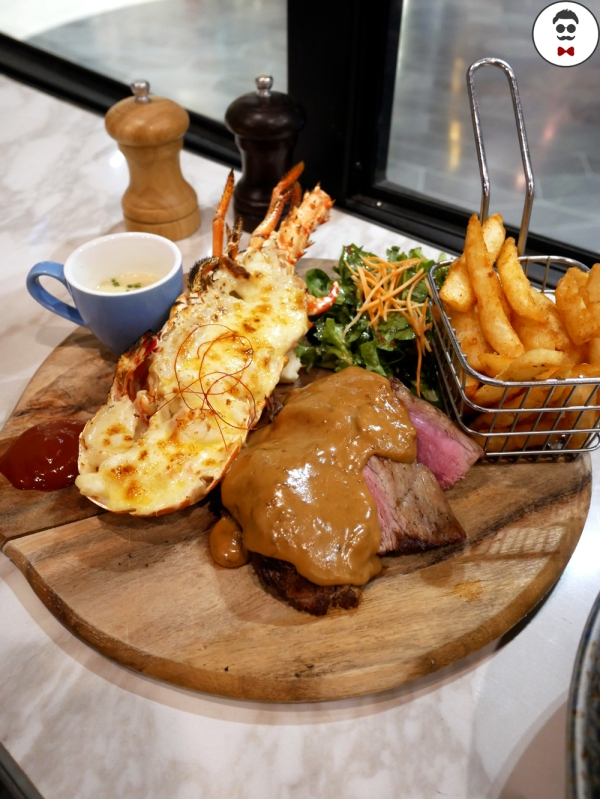 Grilled Half Western Australia Rock Lobster and Roast Angus Beef Tenderloin with Mushroom Sauce
