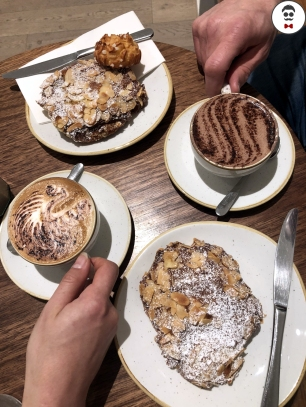 Mocha, Cappuccino or Latte, Almond Croissant
