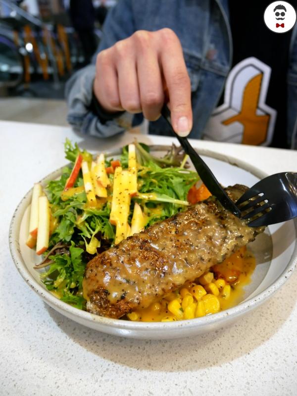 Salmon says - Sous Vide Norwegian Salmon, blood orange & fig dressing, apple fennel salad, miso butter corn, pumpkin & almond