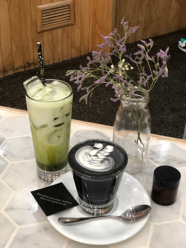 Iced Matcha Latte and Black Latte with Bonsoy